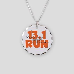 13.1 Run Orange Necklace Circle Charm
