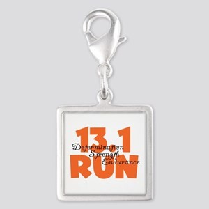 13.1 Run Orange Silver Square Charm