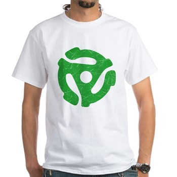 Green Distressed 45 RPM Adapter White T-Shirt