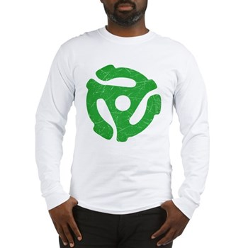 Green Distressed 45 RPM Adapter Long Sleeve T-Shir