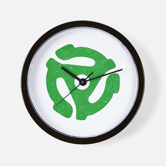 Green Distressed 45 RPM Adapter Wall Clock