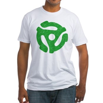 Green Distressed 45 RPM Adapter Fitted T-Shirt