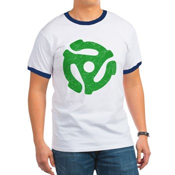 Green Distressed 45 RPM Adapter Ringer T-Shirt