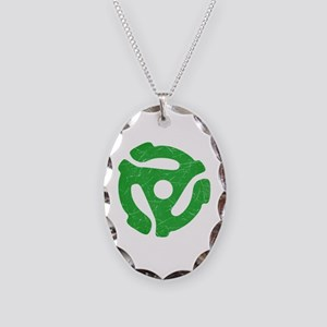 Green Distressed 45 RPM Adapter Necklace Oval Char