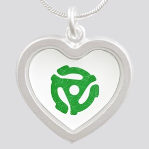 Green Distressed 45 RPM Adapter Silver Heart Neckl