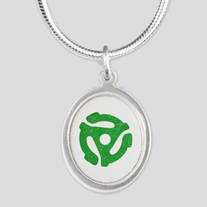 Green Distressed 45 RPM Adapter Silver Oval Neckla