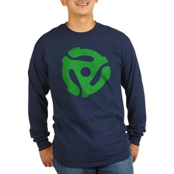 Green Distressed 45 RPM Adapter Long Sleeve Dark T