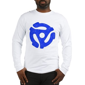 Blue Distressed 45 RPM Adapter Long Sleeve T-Shirt