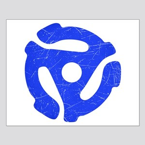 Blue Distressed 45 RPM Adapter Small Poster