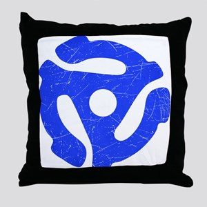 Blue Distressed 45 RPM Adapter Throw Pillow