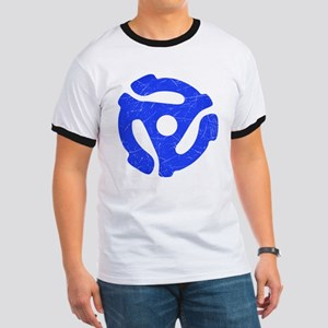 Blue Distressed 45 RPM Adapter Ringer T-Shirt