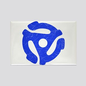 Blue Distressed 45 RPM Adapter Rectangle Magnet