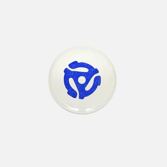 Blue Distressed 45 RPM Adapter Mini Button