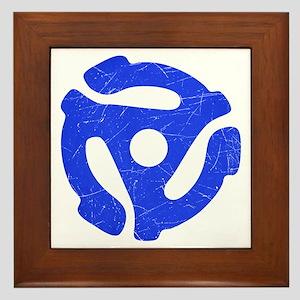 Blue Distressed 45 RPM Adapter Framed Tile