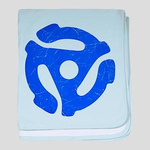 Blue Distressed 45 RPM Adapter Infant Blanket