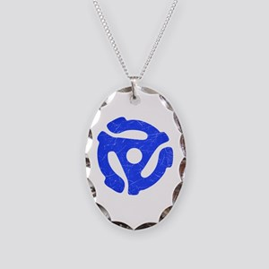 Blue Distressed 45 RPM Adapter Necklace Oval Charm