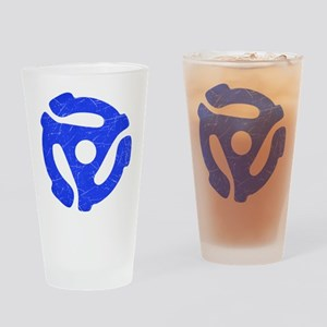 Blue Distressed 45 RPM Adapter Drinking Glass