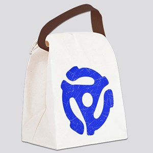 Blue Distressed 45 RPM Adapter Canvas Lunch Bag