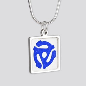 Blue Distressed 45 RPM Adapter Silver Square Neckl