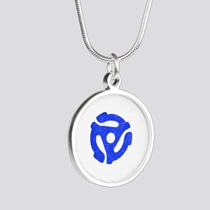 Blue Distressed 45 RPM Adapter Silver Round Neckla