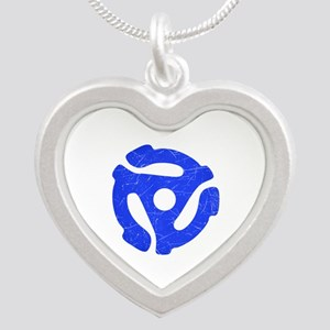 Blue Distressed 45 RPM Adapter Silver Heart Neckla