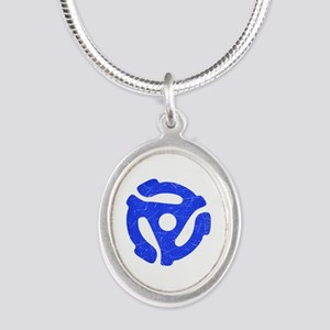 Blue Distressed 45 RPM Adapter Silver Oval Necklac