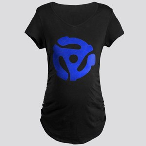 Blue Distressed 45 RPM Adapter Dark Maternity T-Sh