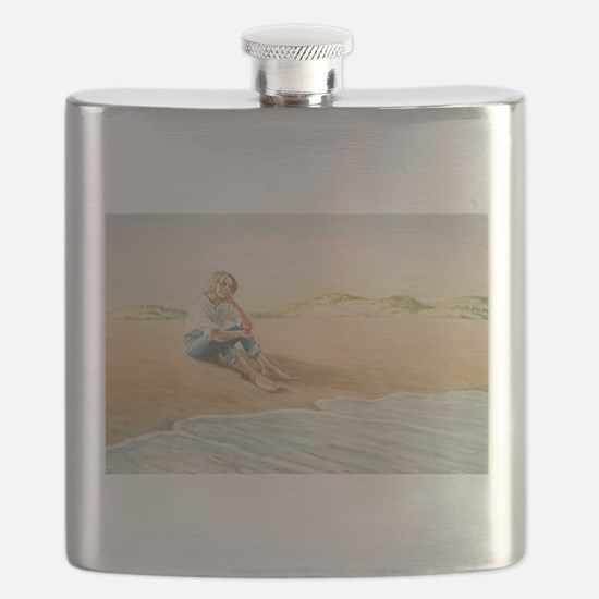 Woman on the Beach Flask