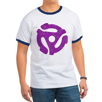 Purple Distressed 45 RPM Adapter Ringer T-Shirt