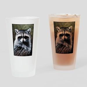 Raccoon Portrait Drinking Glass