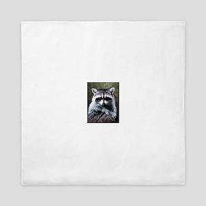 Raccoon Portrait Queen Duvet