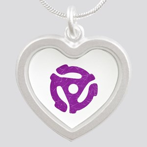 Purple Distressed 45 RPM Adapter Silver Heart Neck