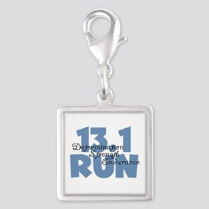 13.1 Run Blue Silver Square Charm