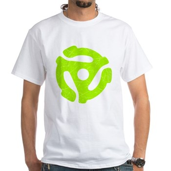 Lime Green Distressed 45 RPM Adapter White T-Shirt