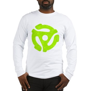 Lime Green Distressed 45 RPM Adapter Long Sleeve T