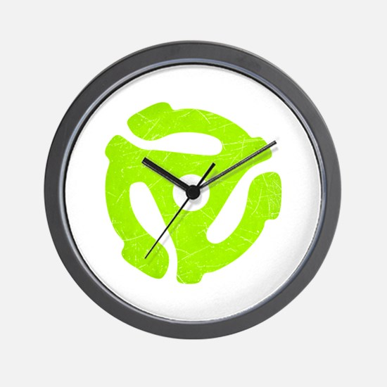 Lime Green Distressed 45 RPM Adapter Wall Clock