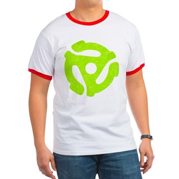 Lime Green Distressed 45 RPM Adapter Ringer T-Shir