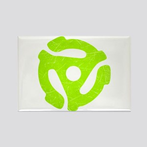 Lime Green Distressed 45 RPM Adapter Rectangle Mag