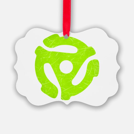 Lime Green Distressed 45 RPM Adapter Ornament