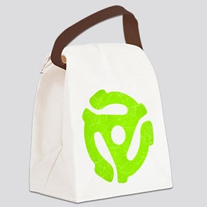 Lime Green Distressed 45 RPM Adapter Canvas Lunch