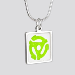 Lime Green Distressed 45 RPM Adapter Silver Square