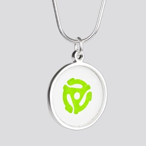 Lime Green Distressed 45 RPM Adapter Silver Round