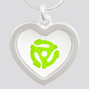 Lime Green Distressed 45 RPM Adapter Silver Heart