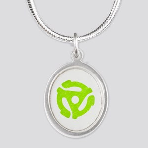 Lime Green Distressed 45 RPM Adapter Silver Oval N