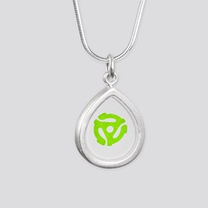 Lime Green Distressed 45 RPM Adapter Silver Teardr