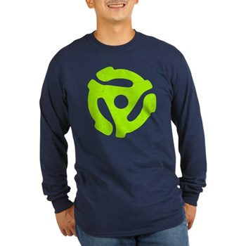 Lime Green Distressed 45 RPM Adapter Long Sleeve D