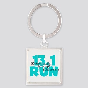 13.1 Run Aqua Square Keychain