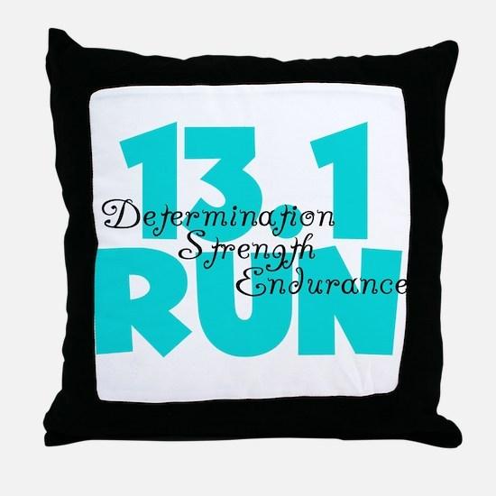 13.1 Run Aqua Throw Pillow