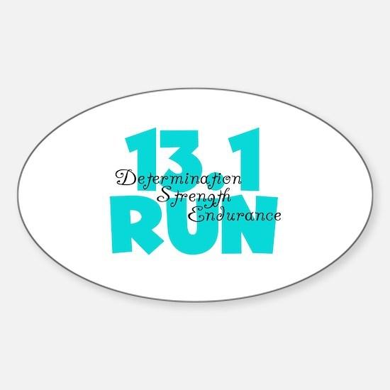 13.1 Run Aqua Sticker (Oval)