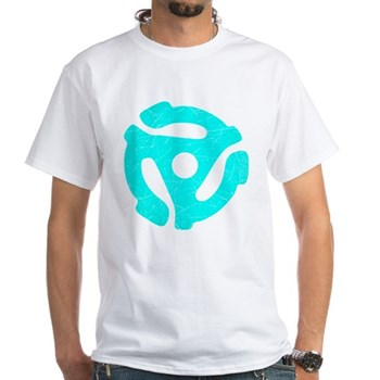 Turquoise Distressed 45 RPM Adapter White T-Shirt